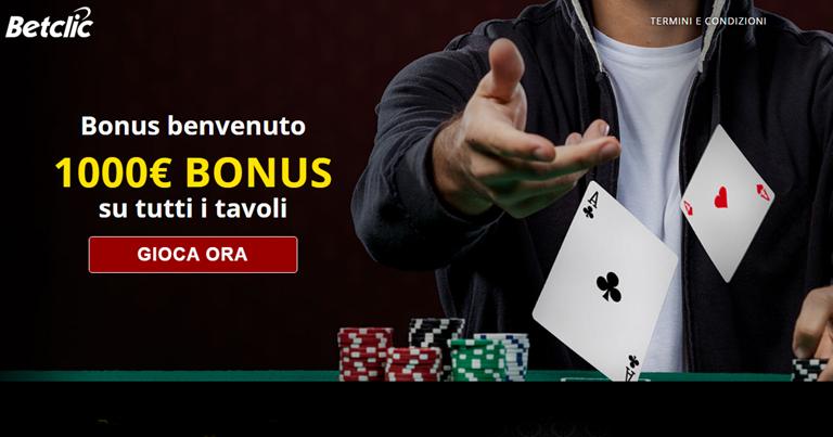 Bonus di benvenuto Betclic Poker in Bonusvip