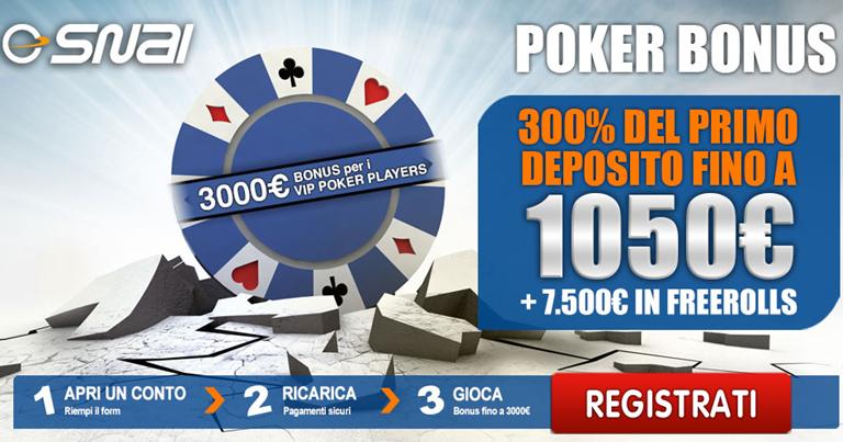 Snai bonus di benvenuto poker su BonusVip