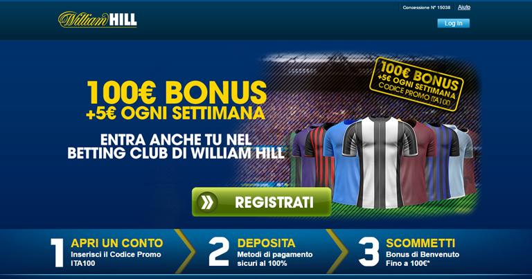 William Hill Bonus Benvenuto scommesse su BonusVip