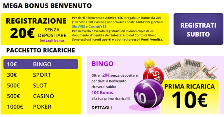 Bonus di benvenuto BingoYES in Bonusvip