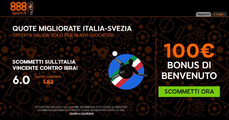 888sport - Quota Migliorata Italia-Svezia su Bonusvip