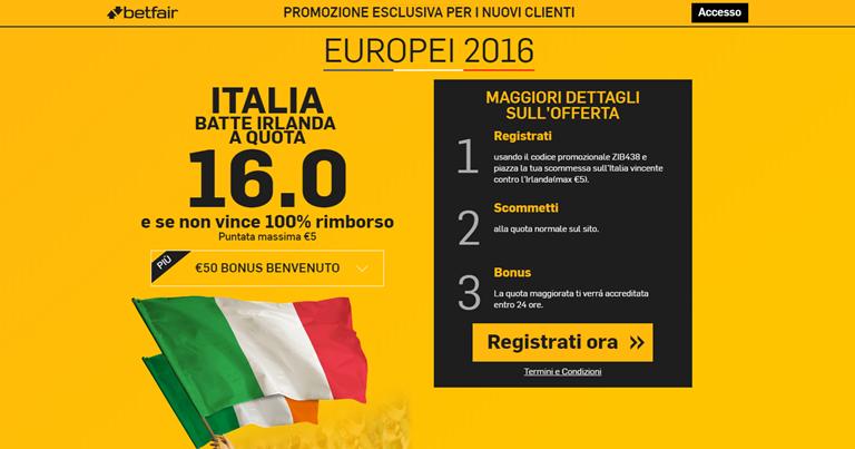 Betfair Quota Maggiorata Italia - Irlanda Euro 2016 su Bonusvip