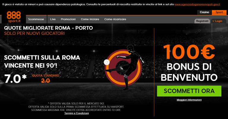 888sport Quota Migliorata Roma-Porto su BonusVip